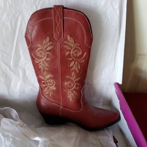 New Ram-Vida Red Stitched Cowgirl Boots